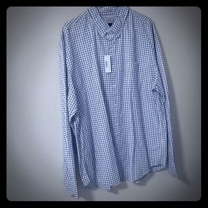 J crew checkered square navy blue & white Xl shirt
